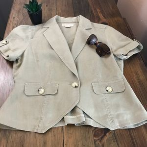 Michael Kors 100% Linen Crop Khaki Blazer